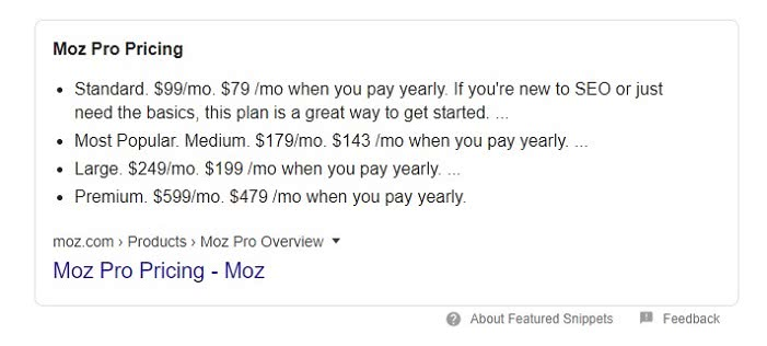 Moz Pro Prcing Snippet